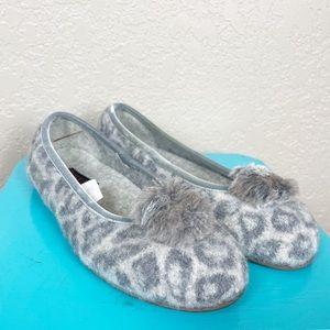 Giesswein grey leopard Pom Pom wool slippers